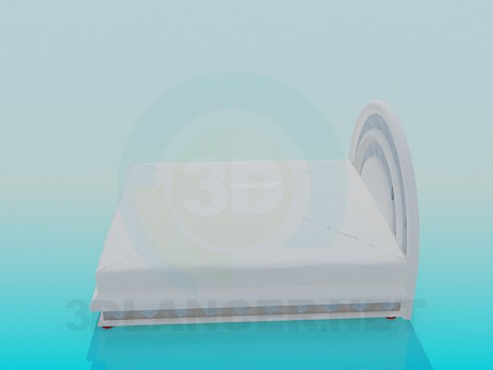 3d model Bed with padded headrest - preview