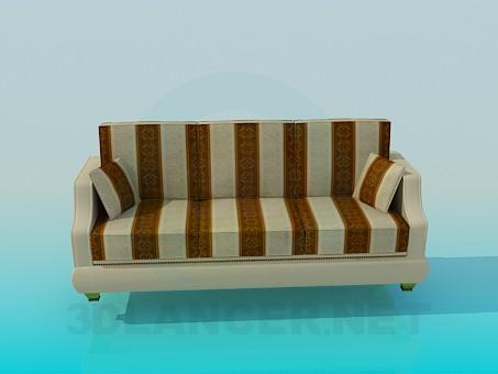 modelo 3D Sofá de rayas - escuchar