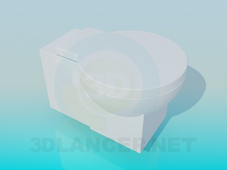 3d modeling Toilet bowl with a round lid model free download