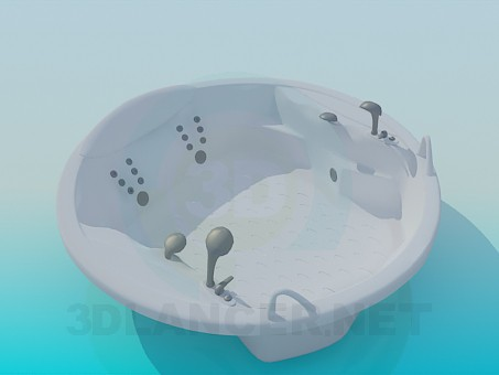 Vasca Da Bagno Angolare Jacuzzi : 3d modella vasca da bagno centro stanza jacuzzi id 6631