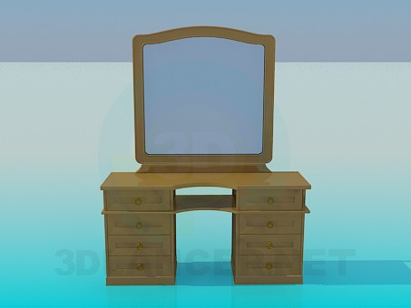 3d model Wooden mirror - preview