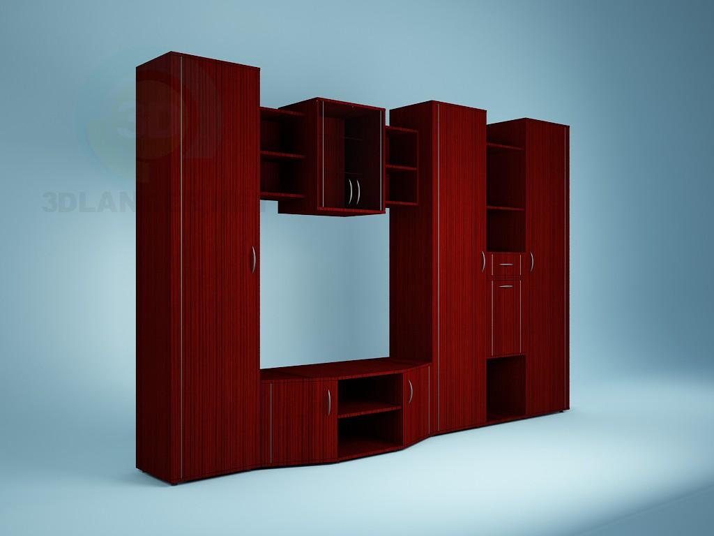 3d модель Корпусная мебель в гостинную – превью