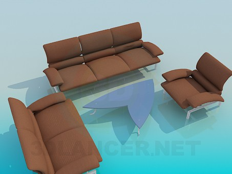 3d modeling A set of upholstered furniture, coffee table model free download