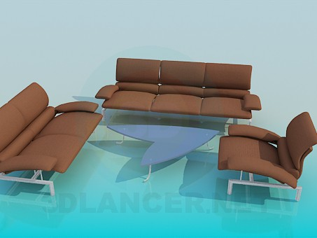 3d model A set of upholstered furniture, coffee table - preview