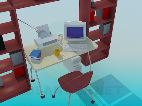 3d modeling Shelving, computer desk for working cabinet model free download