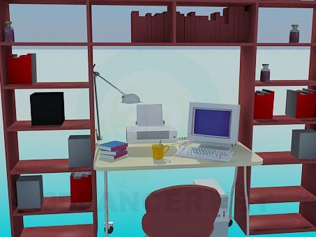 3d модель Стелаж, копьютерного стіл для робочого кабінету – превью