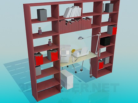 3d model Shelving, computer desk for working cabinet - preview