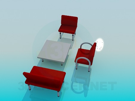 3d model Coffee table with chairs - preview