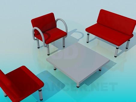 3d модель Журнальный столик с креслами – превью