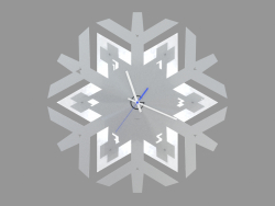 Wall clock with illumination in the form of a snowflake