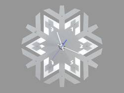 Orologio da parete con illuminazione a forma di fiocco di neve
