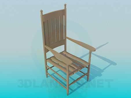 3d model Wooden chair with carved legs - preview