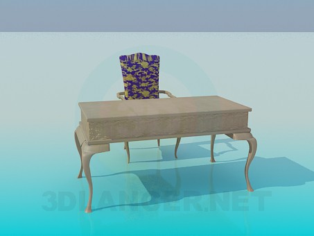 3d modeling Desk with a chair in the baroque style model free download