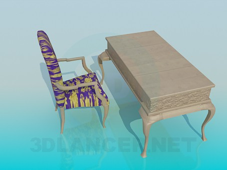 3d model Desk with a chair in the baroque style - preview