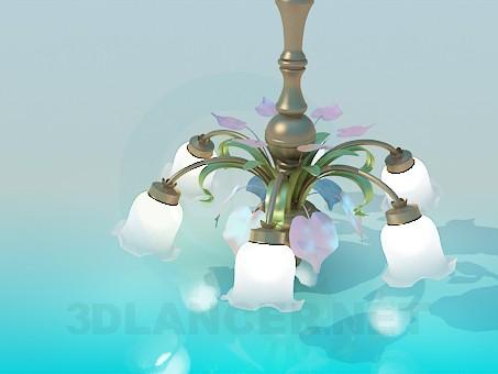 3d модель Люстра- белые колокольчики – превью