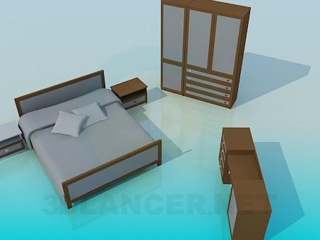 3d моделирование Мебель в спальную комнату модель скачать бесплатно