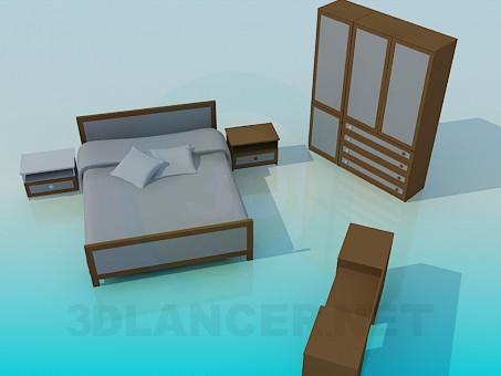 3d модель Мебель в спальную комнату – превью
