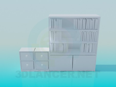 3d modeling Cupboard for books model free download