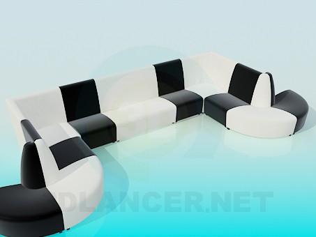 descarga gratuita de 3D modelado modelo Sofá en forma de U
