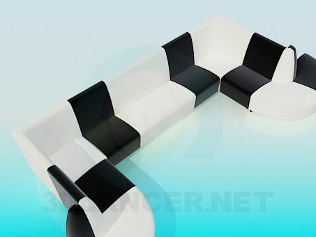 3d модель П-образный диван – превью