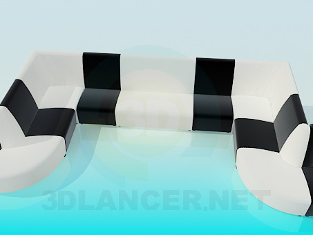 3d model U-shaped sofa - preview