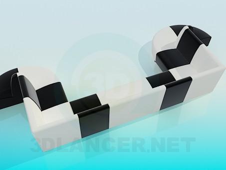 3d model U-shaped sofa - preview