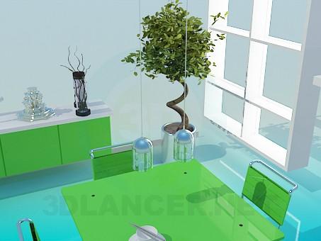 3d модель Інтер'єр їдальні кімнати – превью