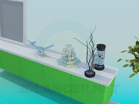 3d model The Interior of the dining room - preview