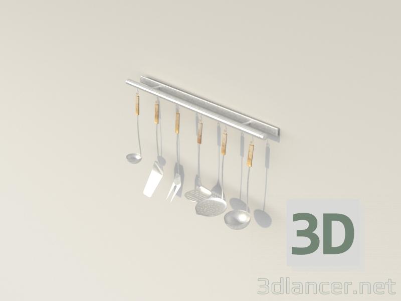 3 डी मॉडल रसोई के बर्तनों का सेट - पूर्वावलोकन