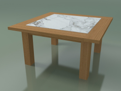 Natural Teak Coffee Table, Recessed White Carrara Marble, Outdoor InOut (13)