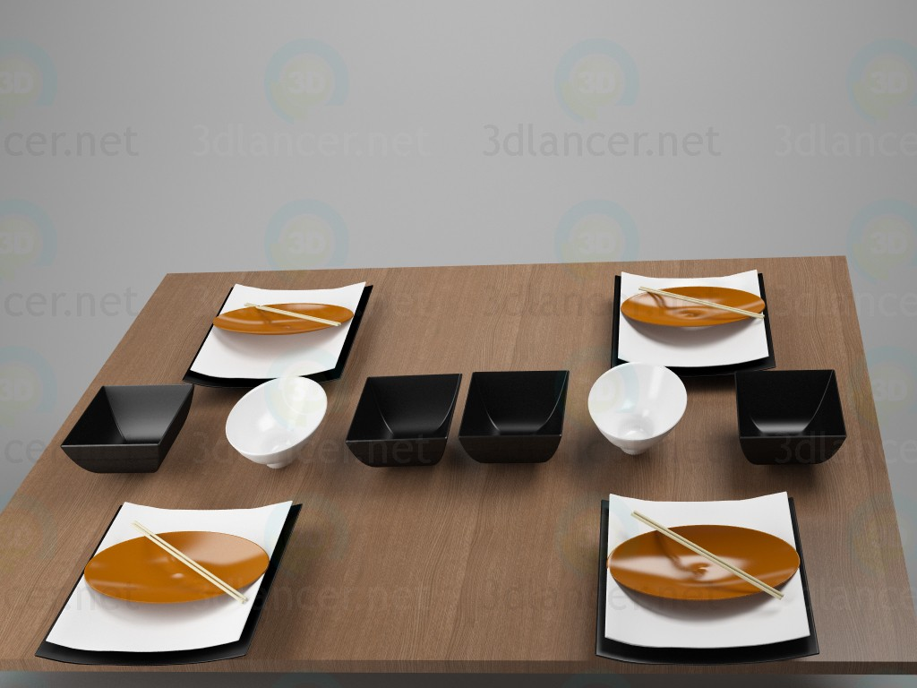 modelo 3D Conjunto de platos - escuchar