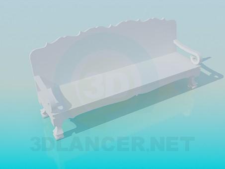3d модель Скамья деревянная – превью