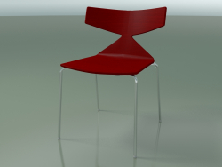 Stackable chair 3701 (4 metal legs, Red, CRO)