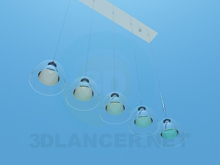 3d model Luminaire at 5 bulbs - preview