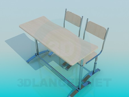 3d modeling School desk model free download