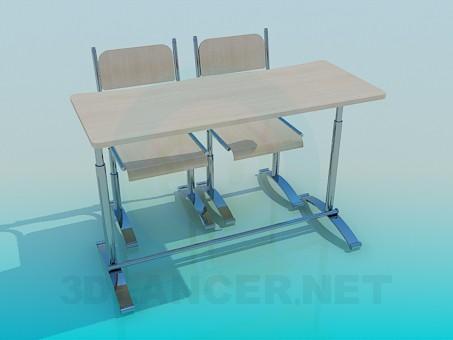 modelo 3D Escritorio de la escuela - escuchar