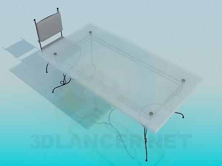 modelo 3D Mesa y silla sobre las patas forjadas - escuchar