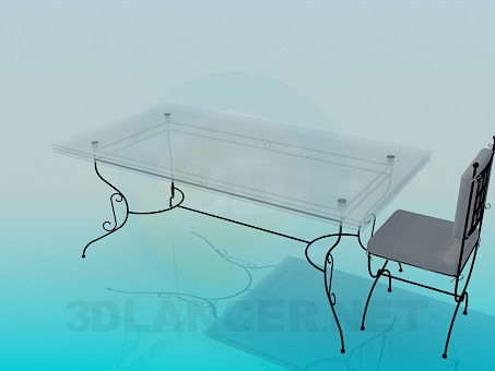 3d model Table and chair on the forged legs - preview