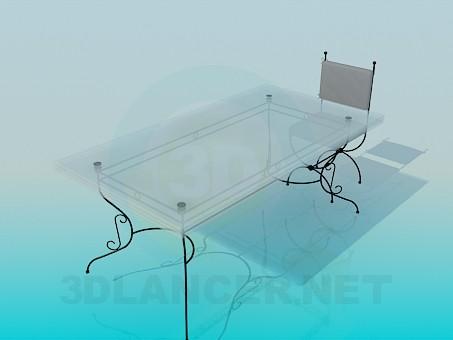 3d модель Стол и стул на кованых ножках – превью