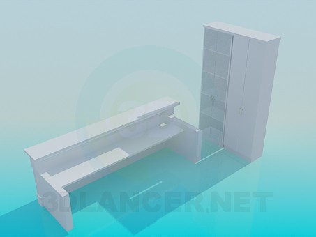 3d model Reception desk and locker - preview