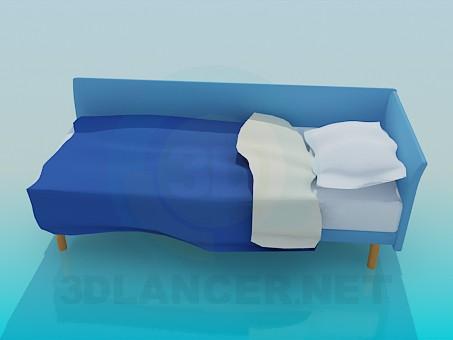 3d модель Односпальне ліжко кутова – превью