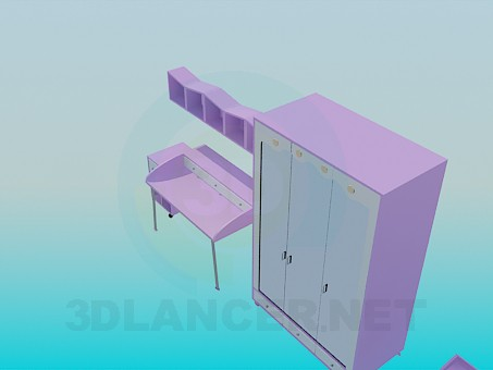 3d model The furniture in the bedroom for a girl - preview