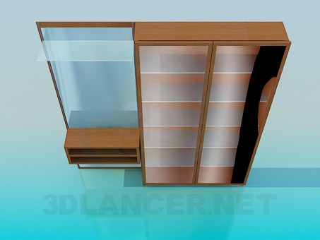 3d model wardrobe for halway - preview