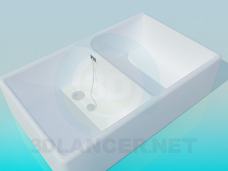 3d model Large double wash basin - preview
