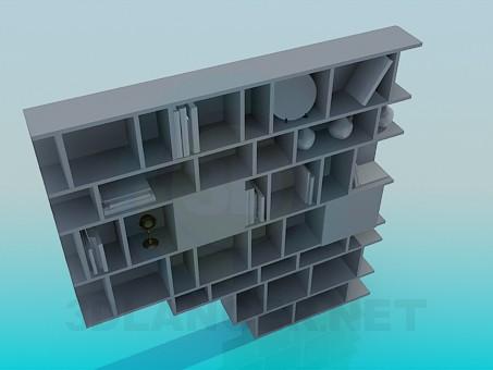 3d модель Стеллаж для книг и сувениров – превью