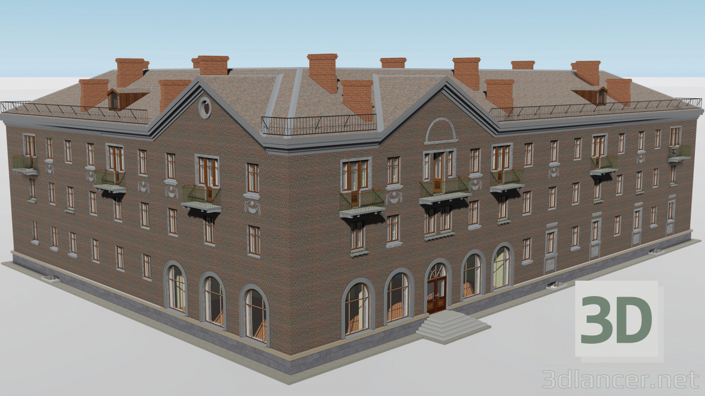 3d Corner three-story building 1-552-4 model buy - render