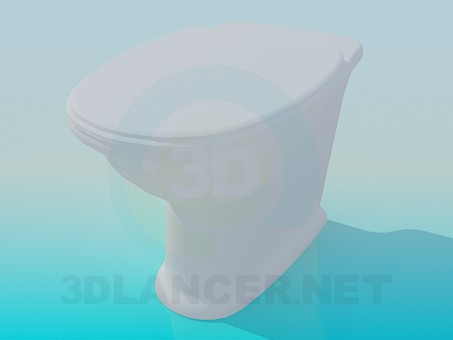 3d modeling Toilet without toilet tank model free download