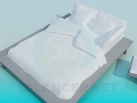 3d model Double bed with stand along the perimeter - preview