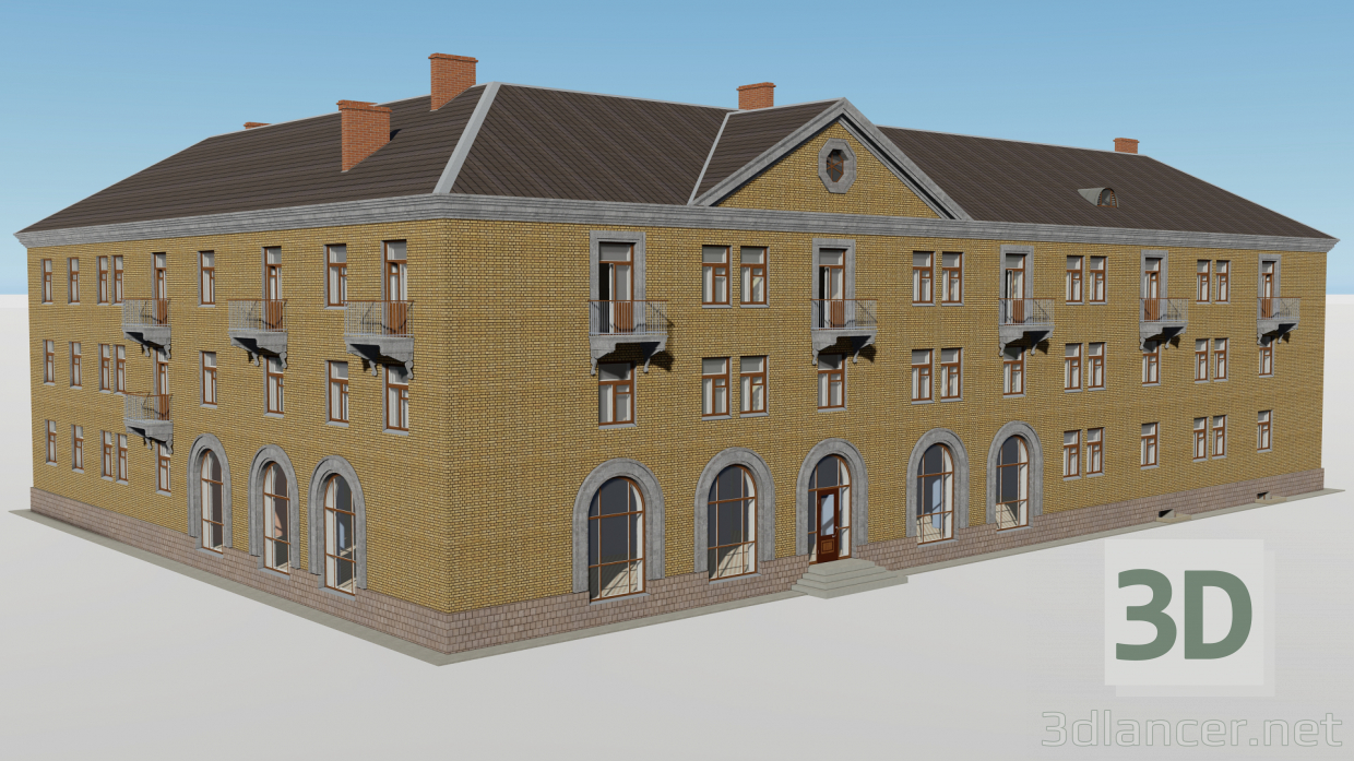 3d Corner three-storey building with a store 1-353-4 model buy - render