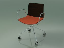 Chair 0457 (4 castors, with armrests, with seat cushion, wenge)
